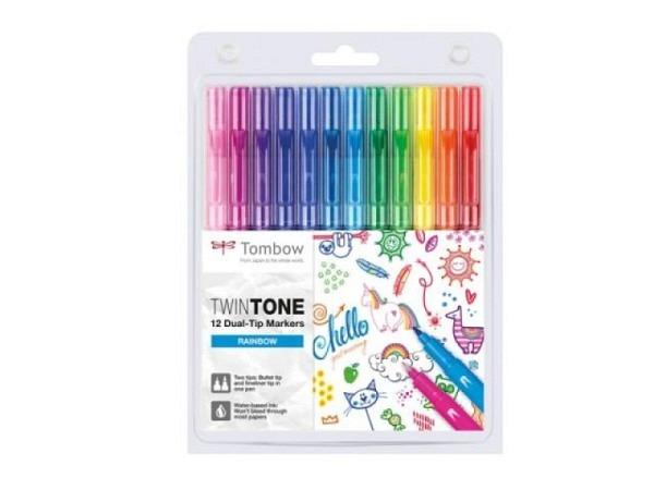 Filzstift Tombow TwinTone Rainbow Colors 12er Set