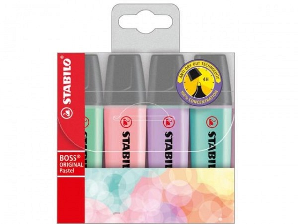 Leuchtstift Stabilo Boss Pastell Edition 4er Etui