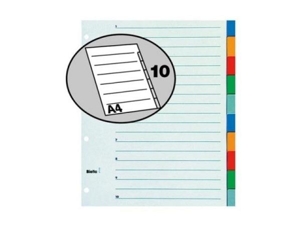 Register Biella XL Kunststoff farbig A4 übergross 10tlg,