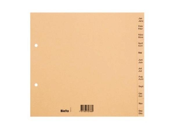 Register Biella Karton braun A4 teildeckend Jan-Dez