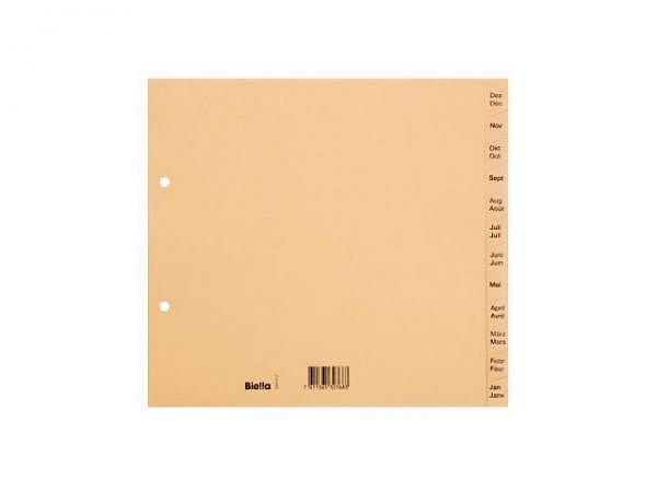 Register Biella Karton braun A4 teildeckend Dezember-Januar