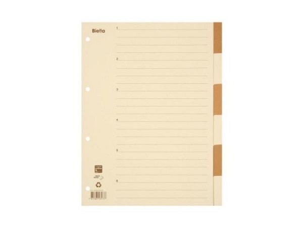 Register Biella Karton beige/braun A4 6tlg,