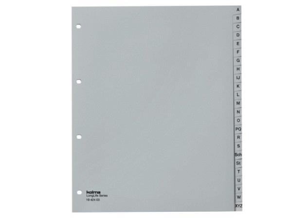 Register Kolma XL Kunststoff grau Longlife A4 überbreit A-Z