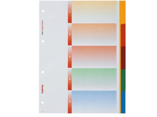 Register Kolma Kunststoff farbig Longlife A4 5tlg. Blanko