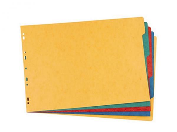 Register Elba Karton A3 quer 5-teilig blanko farbig