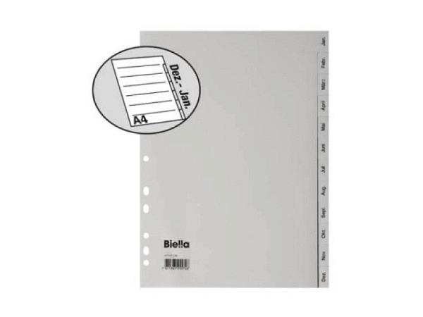 Register Biella Kunststoff grau A4 Januar-Dezember