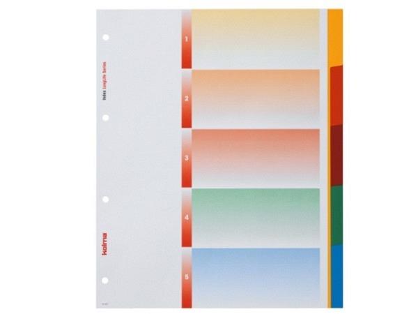Register Kolma XL Kunststoff farbig Longlife A4 5tlg.