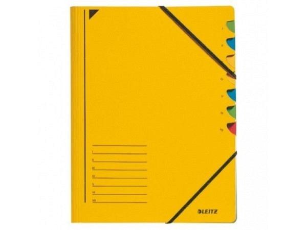 Ordnungsmappe Leitz 7tlg. Karton gelb mit Gummizug