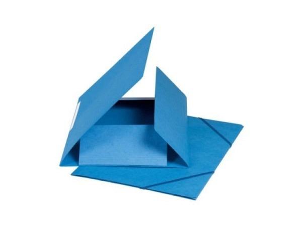 Pendenzenmappe Biella Karton 500g/qm A4 mit 3 Klappen mit Rillen, blau, mit Gummizug in der Mappenfa