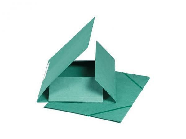 Pendenzenmappe Biella Karton 500g/qm A4 mit 3 Klappen mit Rillen, grün, mit Gummizug in der Mappenfa