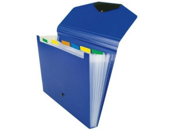 Fächermappe Büroline 6 Fächer, blau, A4 quer 33x23,5cm