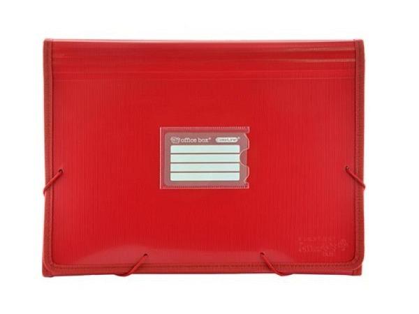Fächermappe Office Box Colorline A4 quer rot transparent