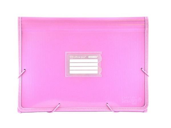 Fächermappe Office Box Colorline A4 quer rosa transparent