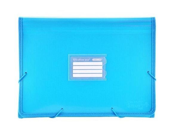 Fächermappe Office Box Colorline A4 quer hellblau transparent