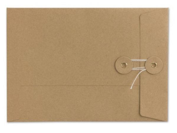 Couverts Kraftpapier braun C5 mit Bindfadenverschluss
