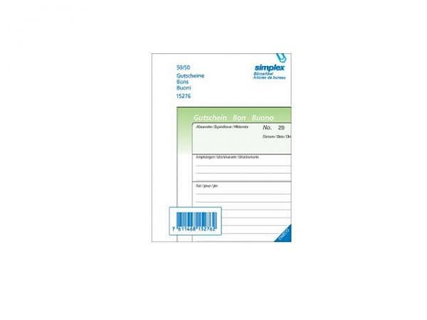 Gutschein Simplex A6 15277 OK 100x2 Blatt nummerie