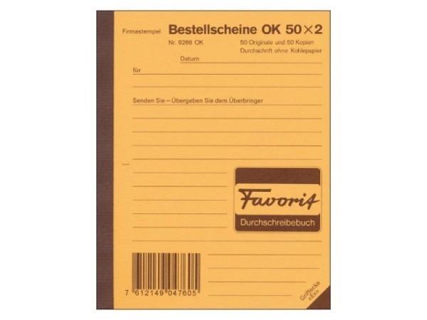 Bestellschein Favorit A5 9286 OK 50x2 weiss/gelb
