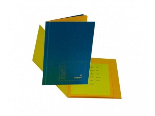 Briefmarkenbuch Simplex unbeschriftet, Pressspan-Deckel blau