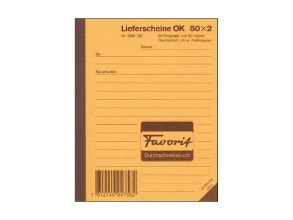 Lieferschein Favorit A6 9281 OK 50x2 Blatt rot/weiss