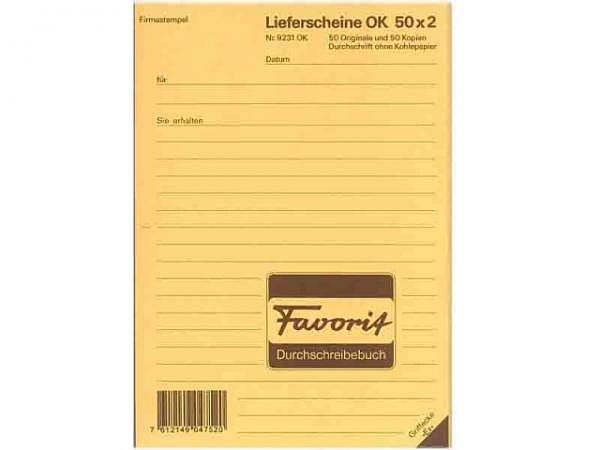 Lieferschein Favorit A5 9231 OK 50x2 Blatt rot/w