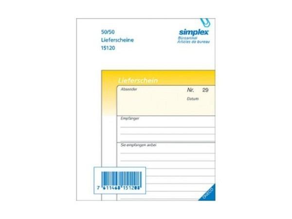 Lieferscheine Simplex A6 50x2 deutsch, selbstdurchschreibend