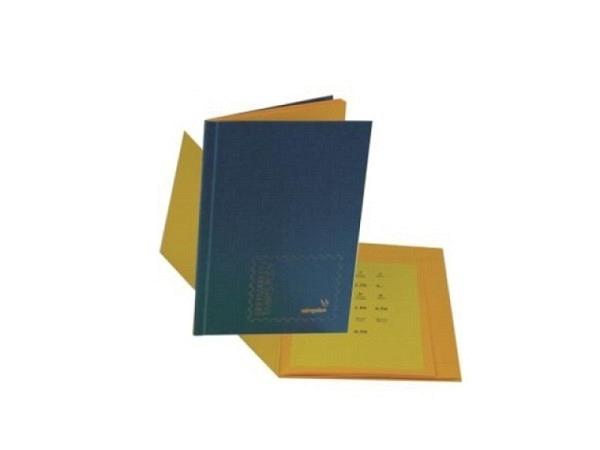 Briefmarkenbuch Simplex unbeschriftet, Pressspan-Deckel gelb