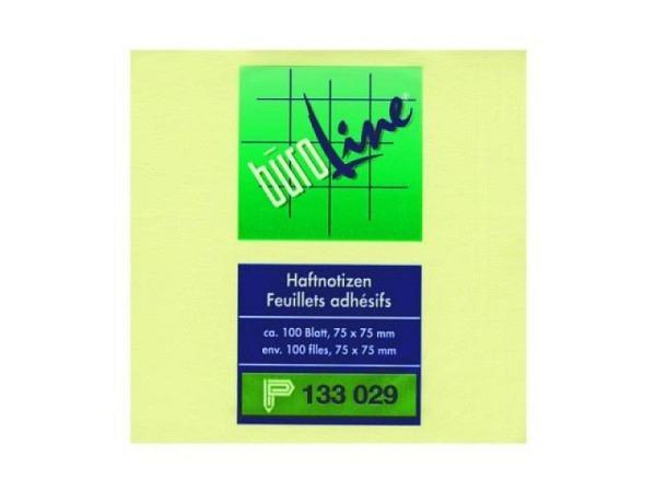 Haftnotizen B�roline 76x76mm Block � 100Blatt, gelb, haftet auf Papier und allen glatten Oberfl�chen, r�ckstandsfrei wieder abl�sbar