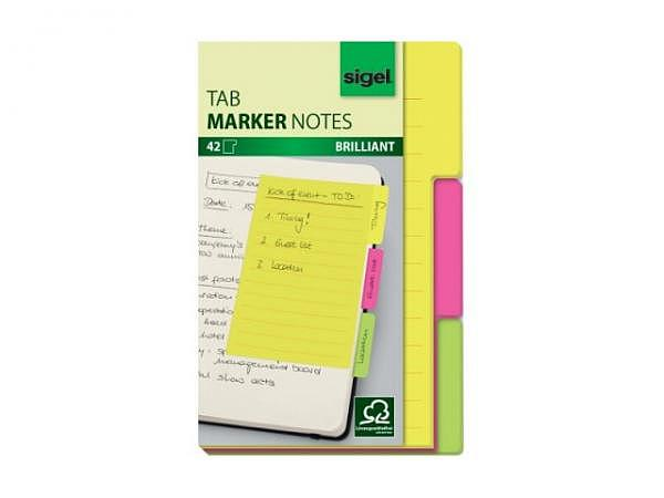 Haftnotizen Sigel Tab Marker Notes mit 3 Register neonfarben