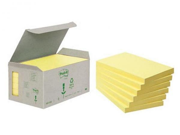 Haftnotizen Post-it 76x127mm recyclinggelb Sparbox