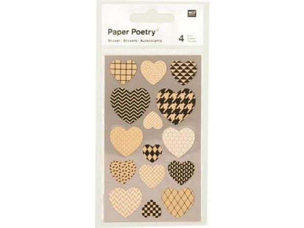 Aufkleber PaperPoetry Herzen aus Kraftpapier, 4 Bogen 7x15,5cm