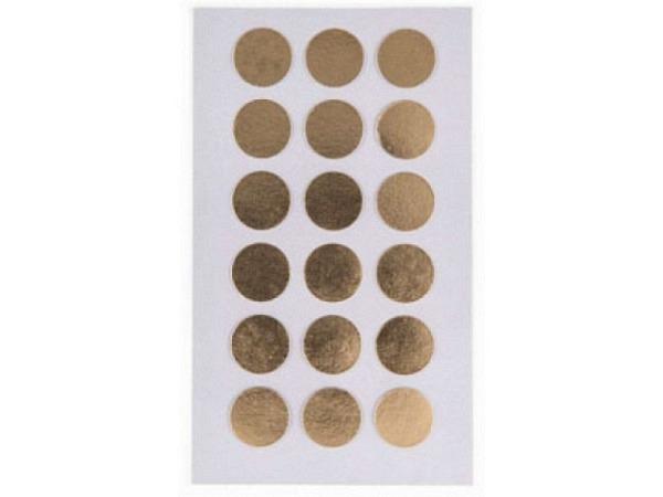 Aufkleber PaperPoetry Punkte 15mm gold metallic, 18 Stk. pro Blatt, 4 Blatt 7x15,5cm