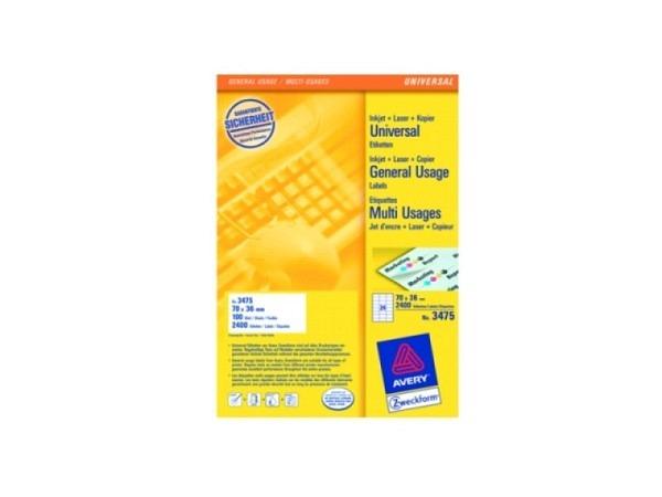 Etiketten Zweckform 36x70mm 3475 1Bogen mit 24 Etiketten