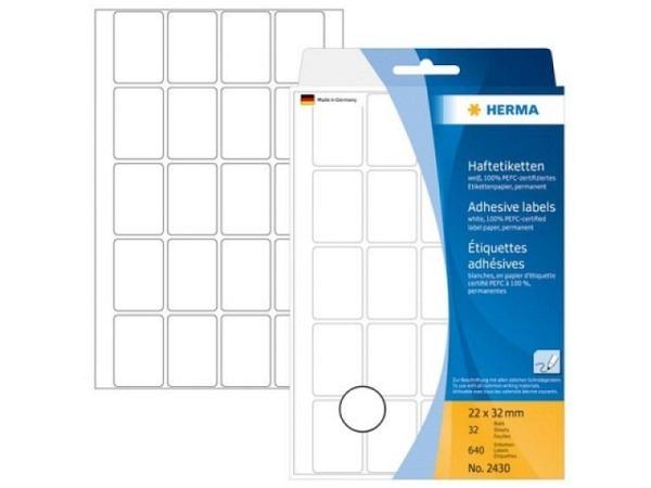 Etiketten Herma Büropackung 22x32mm weiss