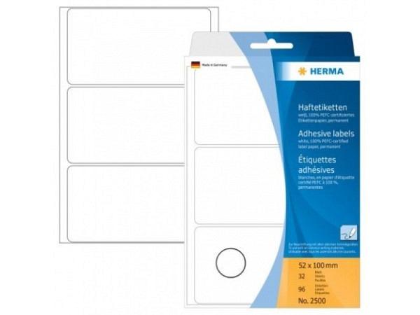Etiketten Herma Büropackung permanent 52x100mm, weiss