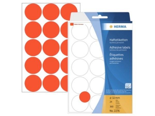 Etiketten Herma Büropackung, Farbpunkte, neonrot,  Ø32mm