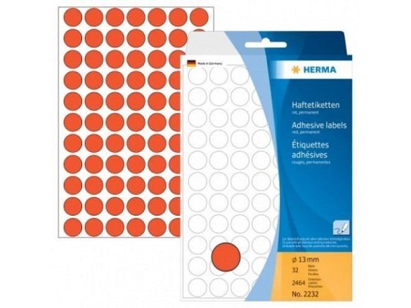 Etiketten Herma Büropackung, Farbpunkte, rot, Ø13mm,