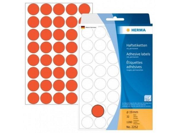 Etiketten Herma Büropackung, Farbpunkte, rot, Ø19mm