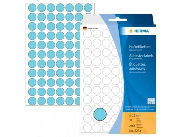 Etiketten Herma Büropackung, Farbpunkte, blau, Ø13