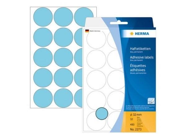Etiketten Herma Büropackung, Farbpunkte, blau, Ø32