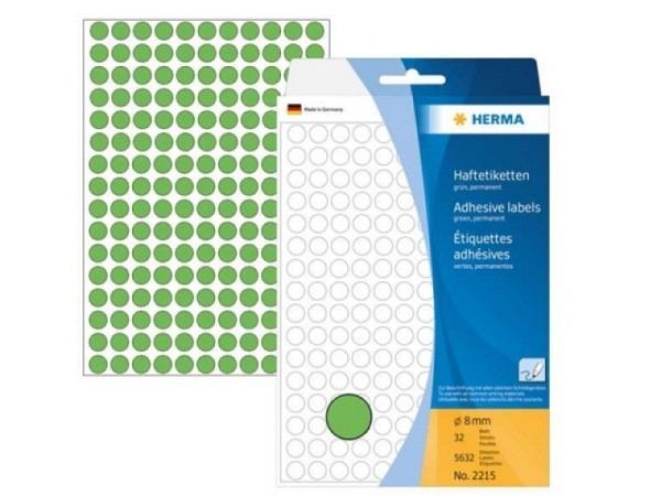 Etiketten Herma Büropackung, Farbpunkte, grün, Ø8mm
