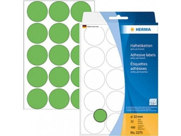 Etiketten Herma Büropackung, Farbpunkte, grün, Ø32mm