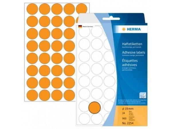 Etiketten Herma Büropackung, Farbpunkte, neonorange, Ø19mm