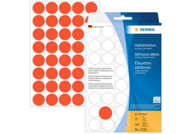 Etiketten Herma Büropackung, Farbpunkte, neonrot, Ø19mm