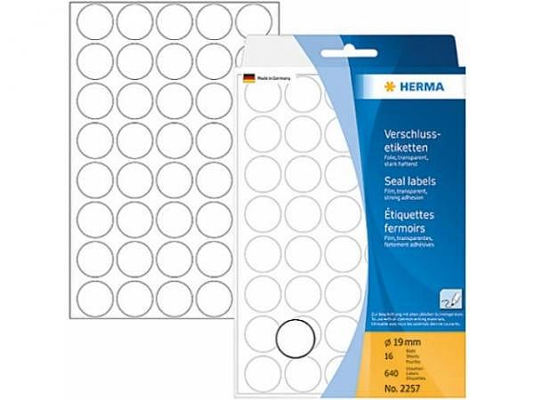 Etiketten Herma Büropackung,  Ø19mm, transparent matt