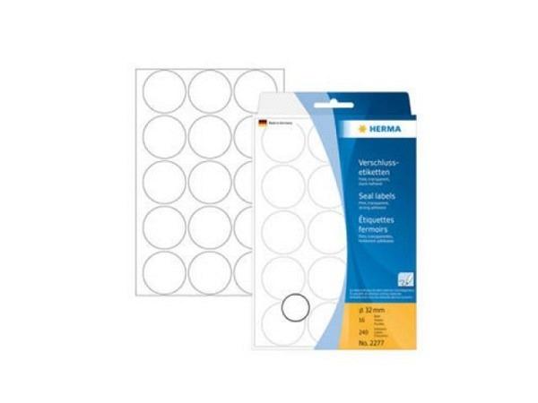 Etiketten Herma Büropackung Ø32mm, transparent matt