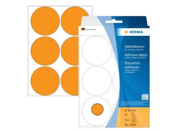 Etiketten Herma Büropackung, Farbpunkte, Leuchtrot, Ø50mm
