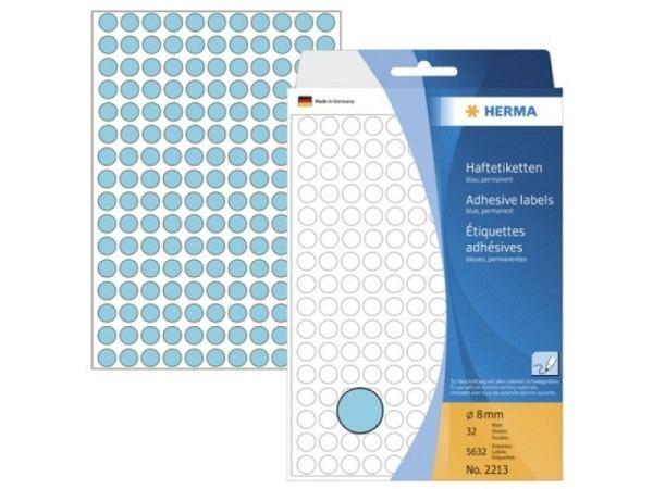Etiketten Herma Büropackung, Farbpunkte, blau, Ø8mm