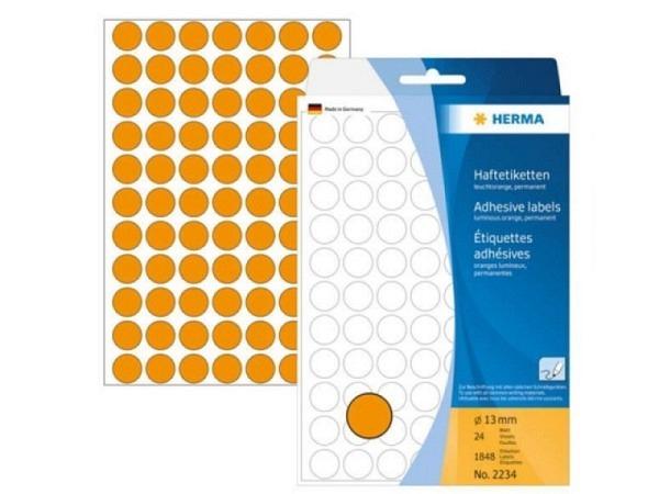 Etiketten Herma Büropackung, Farbpunkte, neonorange, Ø13mm