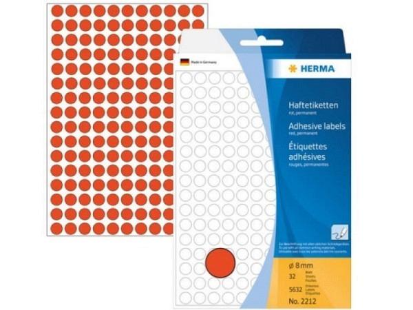 Etiketten Herma Büropackung, Farbpunkte, rot, Ø8mm