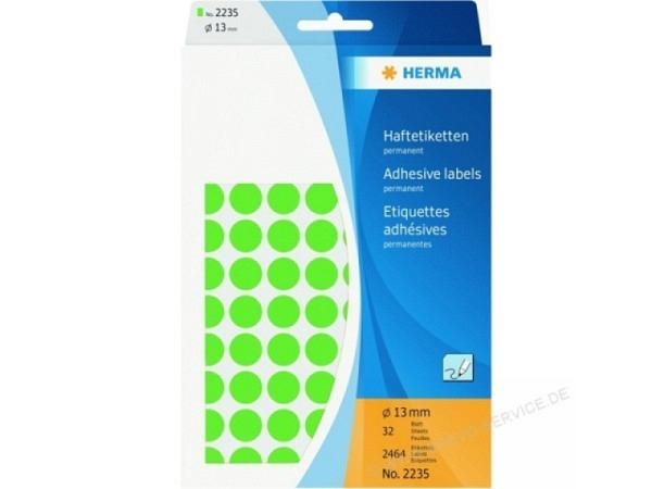 Etiketten Herma Büropackung, Farbpunkte, grün, Ø 13mm